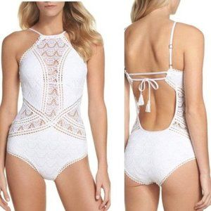 BECCA High Neck Crochet Lace One-Piece Swimsuit Large (10-12) White NEW